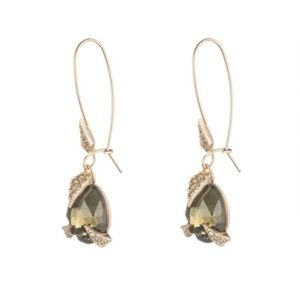 Alexis Bittar Olive Crystal Mosaic Gold Earrings